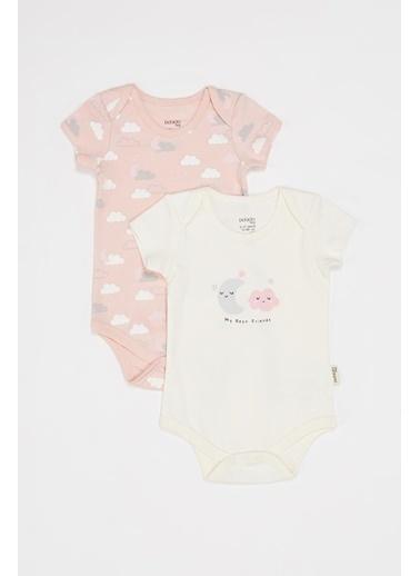 DeFacto Kız Bebek Kısa Kollu Çıtçıtlı 2'li Body Pembe